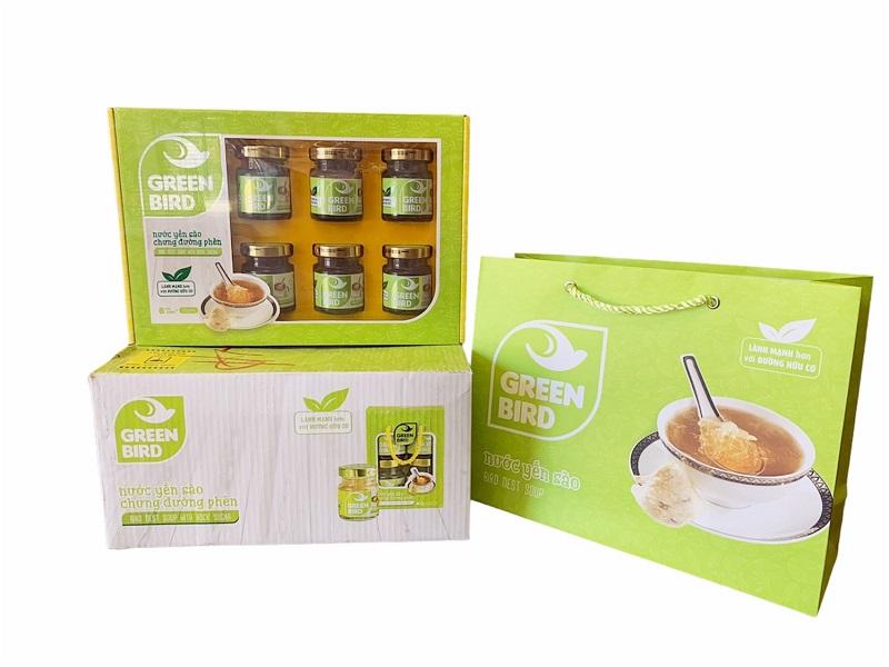 Thùng Hộp quà Organic – Nước yến chưng đường phèn Green Bird 6 hũ 72gr