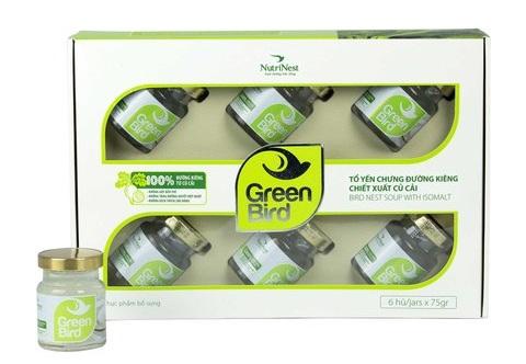 Nước yến chưng đường ăn kiêng Green Bird - Hộp 6 hũ 75gr