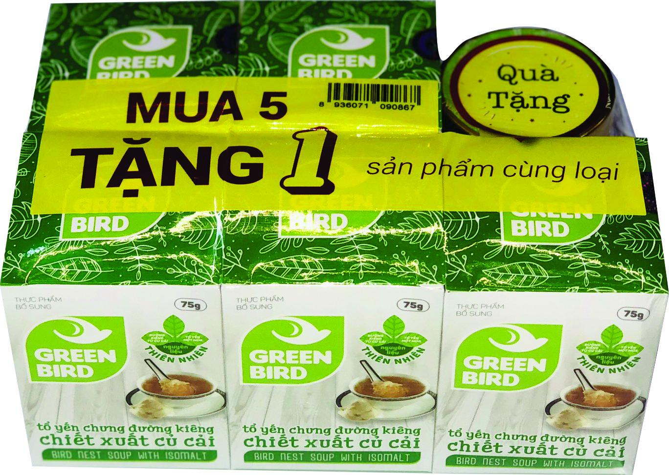 Nước yến chưng đường ăn kiêng Green Bird - mua 5 tặng 1 hũ 75gr