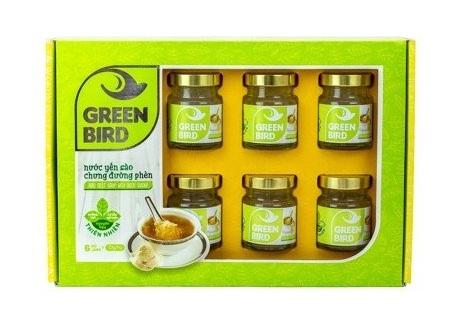 Quà Tặng Nước Yến chưng đường phèn Green Bird Organic Hộp Qùa 6 Hũ 72GR