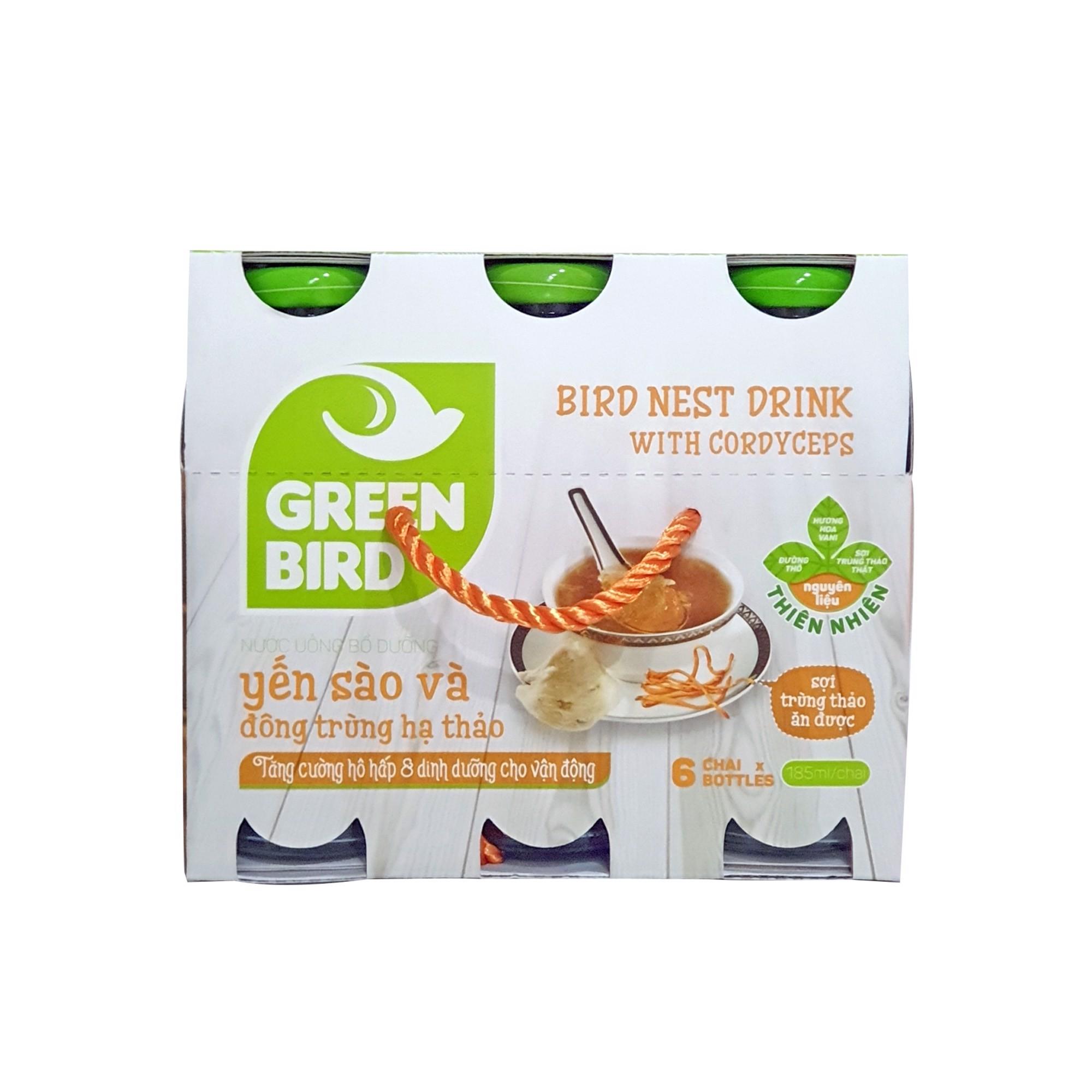 Yến nước Đông Trùng Hạ Thảo Green Bird – Khay 6 chai 185ml