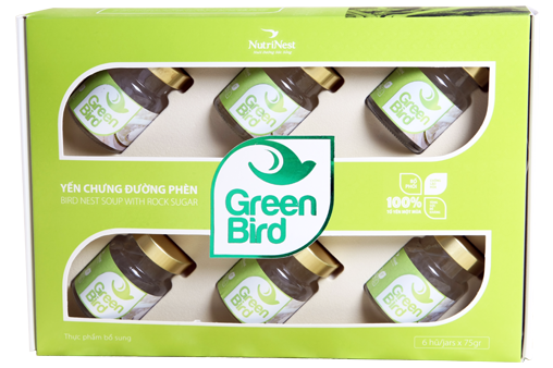 Quà tặng Nước Yến chưng đường phèn Green Bird hộp 6 hũ 72gr