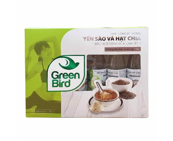 Qùa tặng nước Yến Hạt Chia Green Bird – Hộp 6 chai 185ml