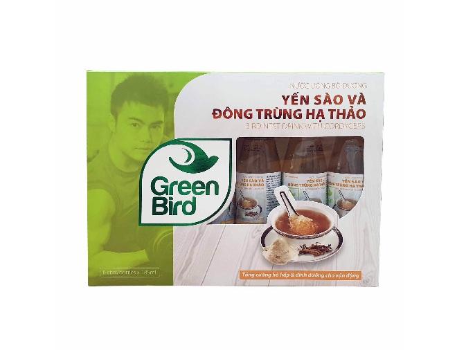 Quà tặng nước Yến Đông Trùng Hạ Thảo Green Bird 6 chai 185ml